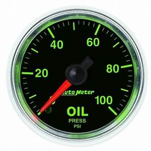 Autometer 3821 Gs Mechanical Oil Pressure Gauge  2 16 In