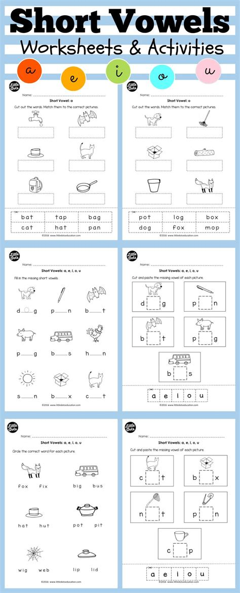 vowels worksheets and activities for preschool or