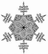 Coloring Snowflake Intricate Adult Pages sketch template
