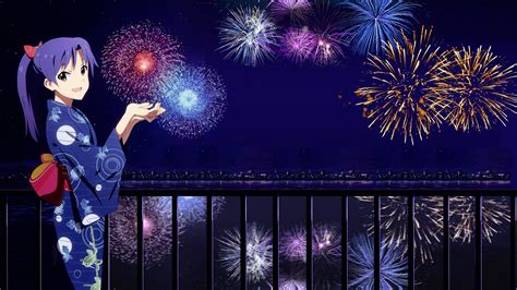 Anime New Year Wallpaper - new year japanese city fireworks kimono