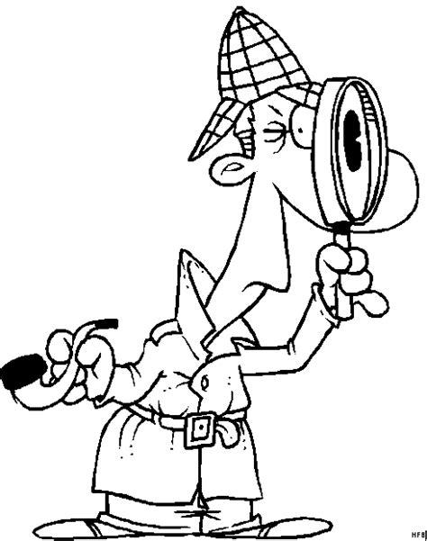 detektiv mit lupe und pfeiffe ausmalbild malvorlage comics