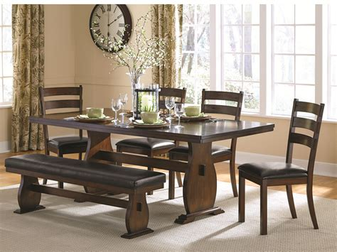 campbell trestle table   side chairs  dining bench