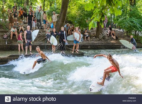 Englischer Garten Munich Surfing by Eisbach Stock Photos Eisbach Stock Images Alamy