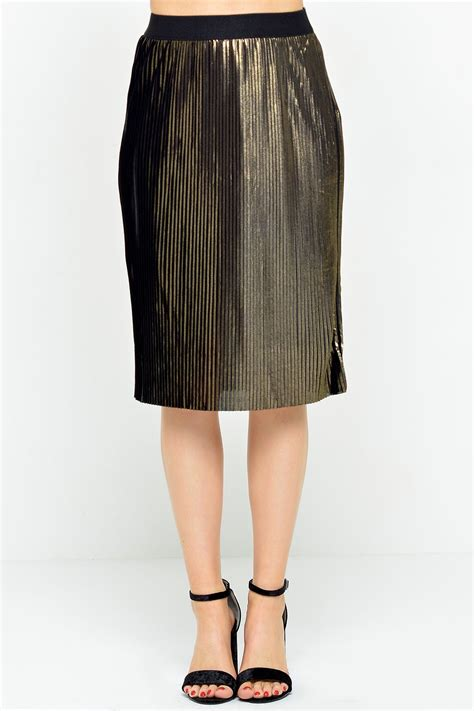Vero Moda Pleat Skirt In Black And Gold Iclothing