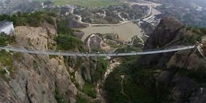 World's longest glass-bottom suspension bridge in China ...