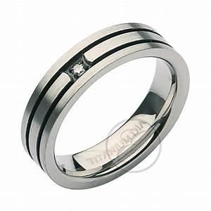 5mm titanium diamond black grooved engagement wedding ring With titanium diamond wedding rings