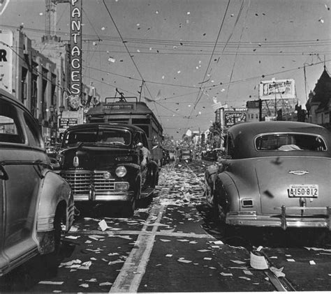 vintage   vj day celebrations   streets  hollywood los angeles