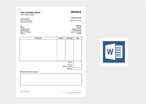 invoice templates  word excel canva