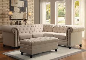 roy elegant button tufted sectional sofa rolled arm With tufted nailhead sectional sofa