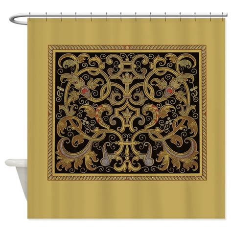 black and gold shower curtain ornate black and gold shower curtain by scarebaby