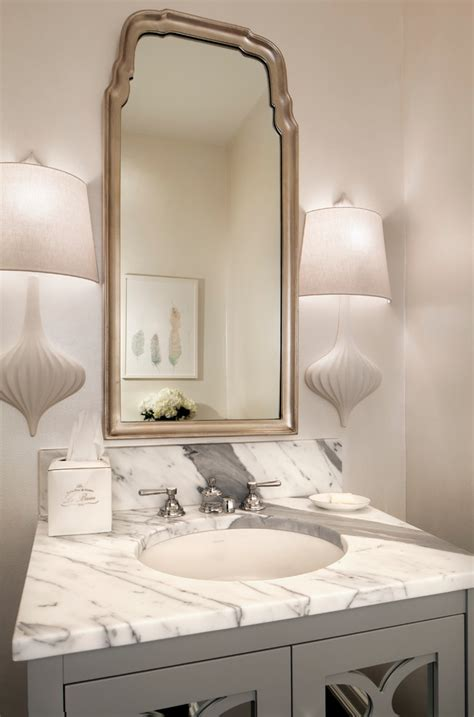 marble  granite powder room transitional