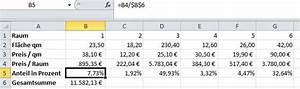 Wie Quadratmeter Berechnen : prozentualen anteil eines wertes an einem gesamtwert in excel berechnen ~ Themetempest.com Abrechnung