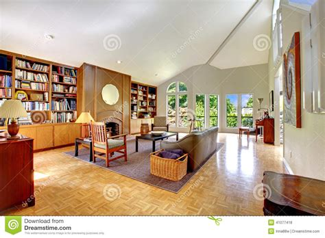 Living Room With Home Library Stock Photo