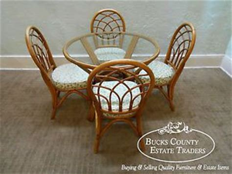 vintage rattan bamboo glass table and chairs wicker