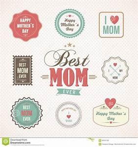 Etiquetas Felizes E ícones Do Dia De Mães Ajustados ...
