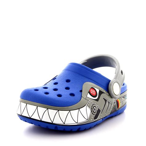 light up crocs boys crocs crocslights robo shark light up clogs