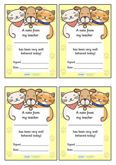 Twinkl Resources >> Note From Teacher Well Behaved Today Catdog Theme >> Classroom Printables