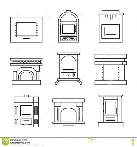 Flat Icons Fireplace, Stoves Isolated On White Background