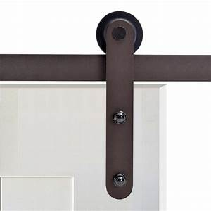 calhome 72 in antique bronze rustic flat strap barn style With 72 inch barn door hardware