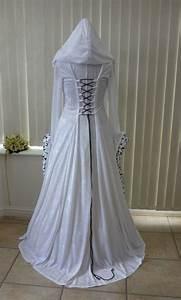 white medeival wedding hooded dress in velvet and taffeta With hooded wedding dress