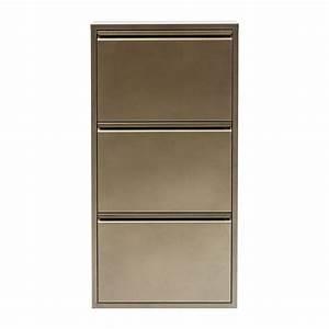 Etagère Et Casier à Chaussures : casier chaussure bronze caruso 3 tiroirs kare design ~ Dallasstarsshop.com Idées de Décoration