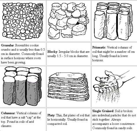 A Lists and describes the different soil textures and