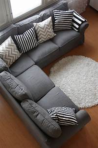 grey couch with cool pillows could also add some accent With sectional couch accent pillows