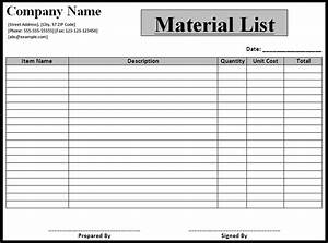 Material List Template - Word Excel PDF