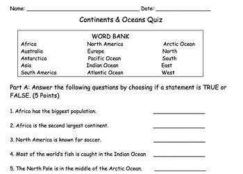 continents  oceans quiz  iamstarvibez teachers pay