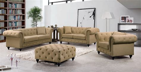 Tufted Loveseat by Kristopher Chesterfield Modern Sand Linen Tufted Sofa
