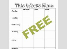 Free blank menu planning template and weekly menu plan