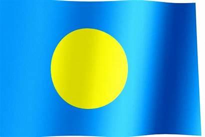 Palau Flag Waving Flags Animated Yellow