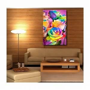 Deco Multicolore : tableaux toile d co rectangle verticale rose multicolore stickers autocollants ~ Nature-et-papiers.com Idées de Décoration