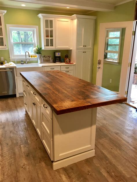 hand  reclaimed wood kitchen island top  elias