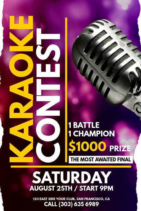 karaoke contest poster template postermywall