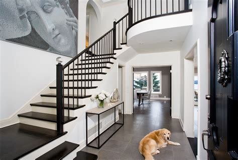black stair railing Hall Transitional with banister