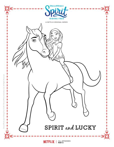 spirit riding  spirit  lucky coloring page mama