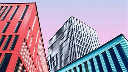 Architecture Buildings Colorful Symmetry Background Laptop Minimalism