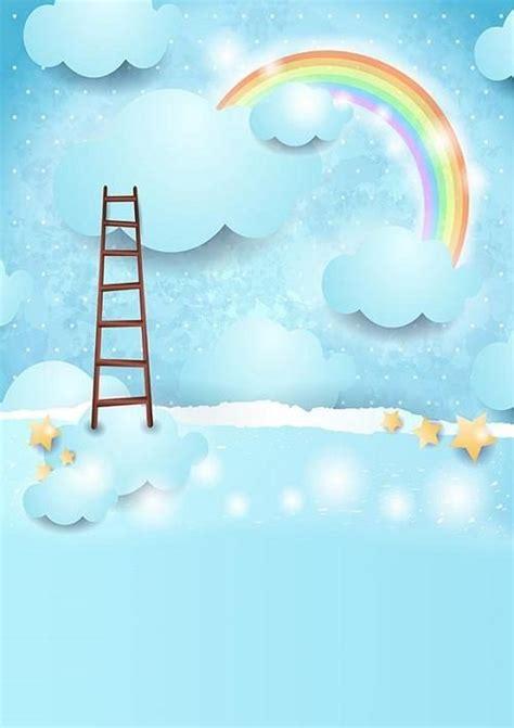 sky blue backdrop rainbow  clouds  baby