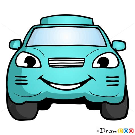 draw turquoise car cartoon cars