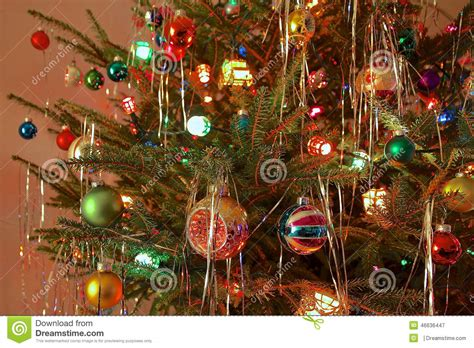 kitsch 70s style decorated tree stock image