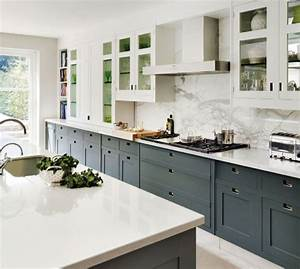 Two Tone Kitchen Cabinets Grey and White of Two Tone