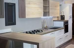 cucina moderna con penisola in olmo nature in offerta Cucine a prezzi scontati