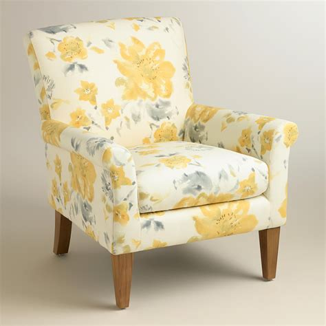 Floral Upholstered Living Room Chairs by Yellow Fleurs Estelle Chair World Market 250 180 If