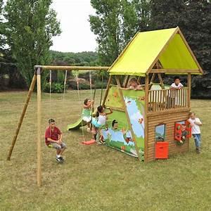 Cabane Toboggan Pas Cher : cabane en bois avec toboggan et balancoire les cabanes ~ Dailycaller-alerts.com Idées de Décoration