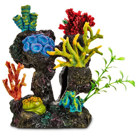 Petco Fish Aquarium Decorations by Imagitarium Coral Reef With Silk Plants Aquarium Ornament