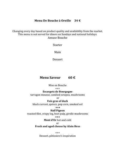 Menu Carte Restaurant Anglais by Menu Carte Restaurant Le Benaton