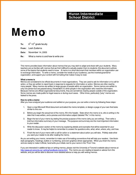 Template For Writing A Memo by How To Write A Business Memo Memo To Exlehow To