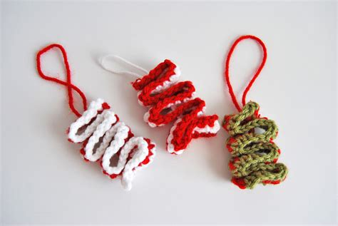 easy crochet ribbon candy christmas ornament