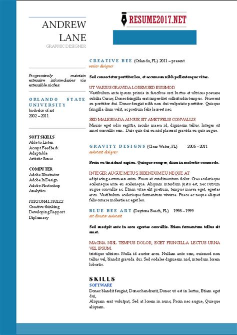 Resume Template 2017 by Resume Format 2017 16 Free To Word Templates